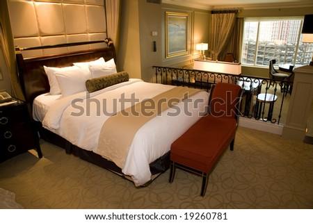 Luxury bedroom with contemporary decor. - stock photo