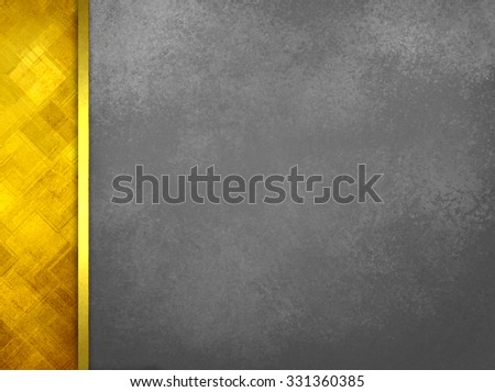 Luxury black background with abstract gold sidebar pattern and gold ribbon trim, gray background with vintage texture, elegant formal layout or template - stock photo