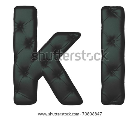 Luxury black leather font K L letters isolated on white