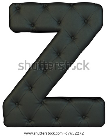 Luxury black leather font Z letter isolated on white