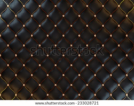 Luxury black leather pattern with gemstones and golden wire. Useful as background - stock photo