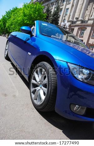 luxury blue cabriolet - stock photo