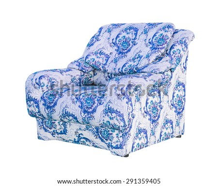 luxury blue sofa isolated with clipping path - stock photo