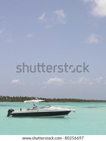 luxury boat on the dominican sea - stock photo