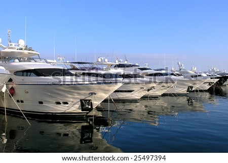 Luxury Boats and Yachts in a Marina