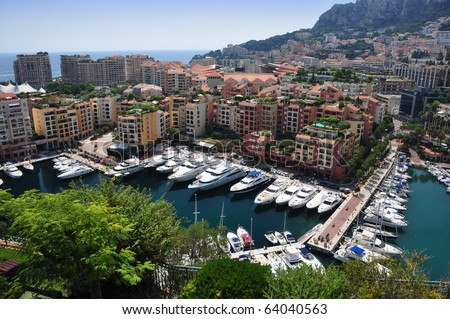 Luxury boats in Port de Fontvieille, Monte Carlo, French Riviera - stock photo