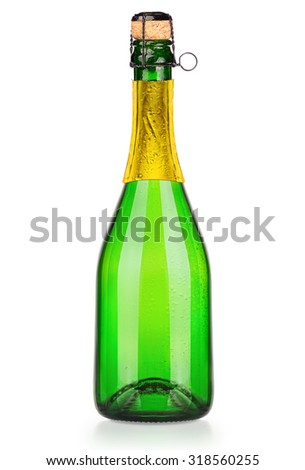 Luxury bottle of champagne isolated on the white background