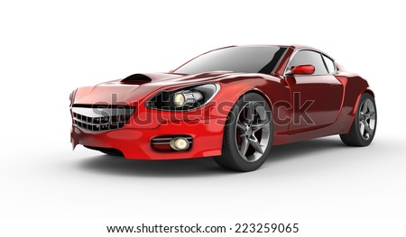 luxury brandless red sport car at white background - stock photo