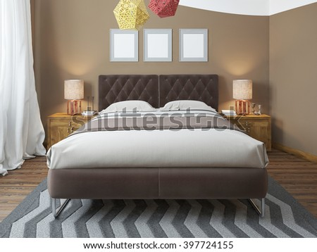 Luxury bright bedroom in the loft. The bedroom brown walls and white ceiling. Quilted headboard and above him three paintings in mockup poster style. At the second level balcony. 3D render - stock photo