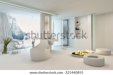 Luxury bright spacious bathroom interior with a cheerful circular fire in the center alongside a freestanding bathtub in front of large view window overlooking a winter garden with snow. 3d Rendering - stock photo