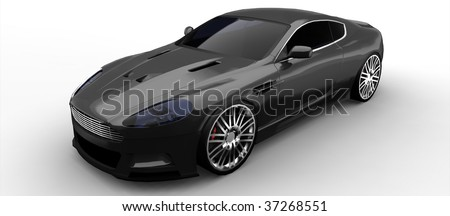 Luxury British sports Car in grey isolated on white