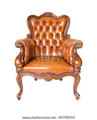 luxury brown leather armchair isolated