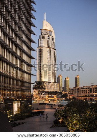 Luxury building in Dubai. This is the Address Hotel, located in Downtown Dubai.