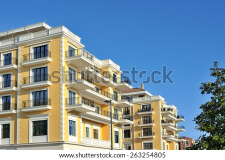 Luxury building with blue sky  - stock photo