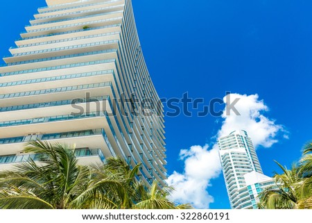 Luxury buildings in Miami, Florida, USA - stock photo