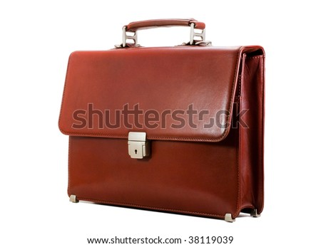 Luxury business brown brief-case isolated on a pure white background - stock photo
