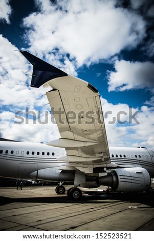 Luxury Business Corporate Private Jet plane at airfield - stock photo