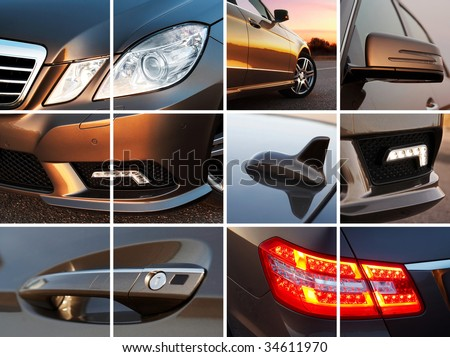 Luxury car exterior details collage - stock photo