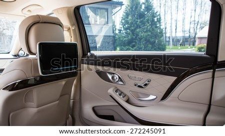 Luxury car interior details. Shallow DOF - selective focus - stock photo