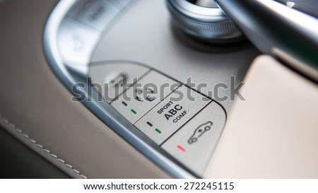 Luxury car interior details. Shallow DOF - selective focus - stock photo