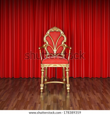 luxury chair on stage with red curtains.