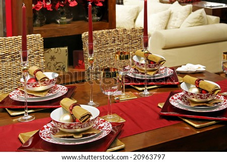 Luxury Christmas table in red and gold - stock photo