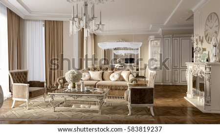 Luxury Classic Interior Of Dining Room, Kitchen And Living Room With White  Furniture And Crystal