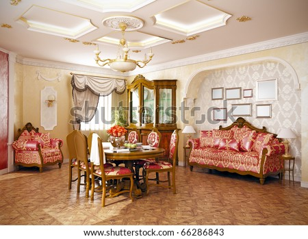 luxury  classic -style interior of living room (3D rendering) - stock photo
