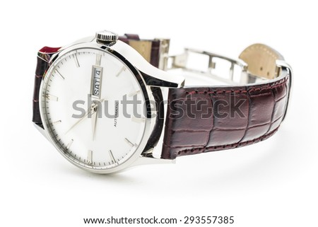 Luxury classic watch closeup isolated on white - stock photo