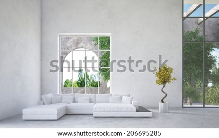 Luxury condominium living room interior with an upholstered white suite in front of a large arched window overlooking a arden or greenery and mottled grey decor - stock photo