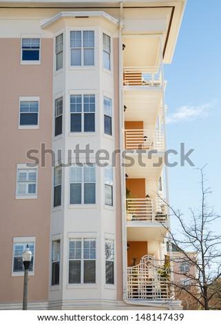 Luxury Condominiums with Bay Windows and Balconies - stock photo