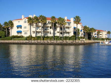 Luxury condos on the waterfront in southern California. - stock photo
