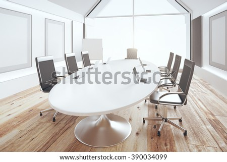 Luxury conference room with oval table and chairs on wooden floor, 3D Render - stock photo