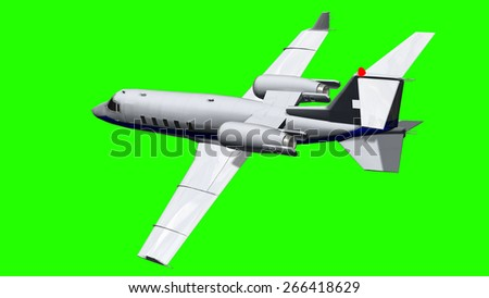 Luxury Corporate Jet - air to air - close up - green screen