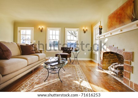 Luxury cozy living room. Green walls, beige tones and cozy craftsman style. Tacoma, WA - stock photo