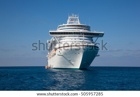 Luxury cruise ship anchored in the Caribbean Sea.