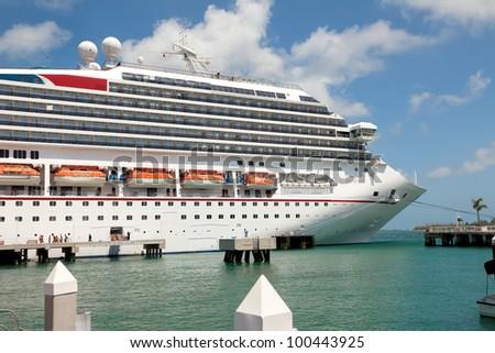 Luxury Cruise Ship Docked in Key West, Florida - stock photo