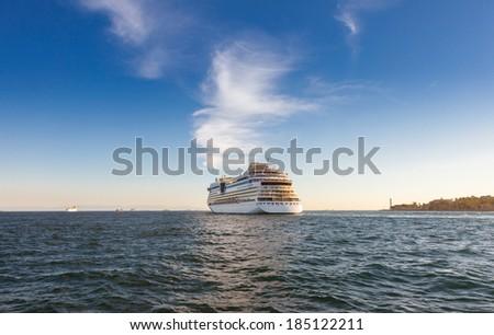 Luxury Cruise Ship in Bosphorus, Istanbul Turkey - stock photo