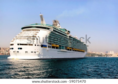 Luxury cruise ship in Bosporus, Istanbul - stock photo