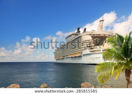 Luxury Cruise Ship Sailing from Port - stock photo