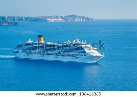 Luxury Cruise Ship, Sailing in the Mediterranean - stock photo
