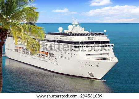 Luxury Cruise Ship Sailing to Port - stock photo