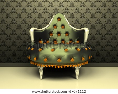 Luxury decorative armchair on ornament wallpaper background - stock photo