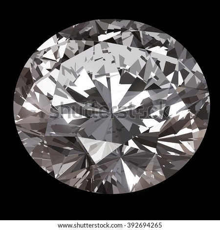 Luxury diamond isolated on black background.