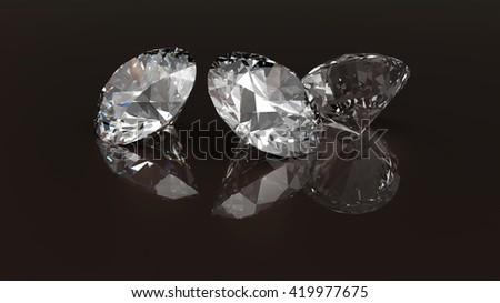 Luxury diamonds on dark brown backgrounds. 3D rendering. - stock photo