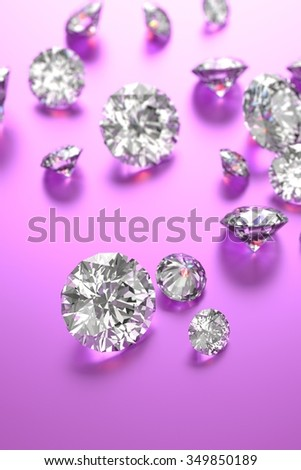 Luxury diamonds on purple backgrounds