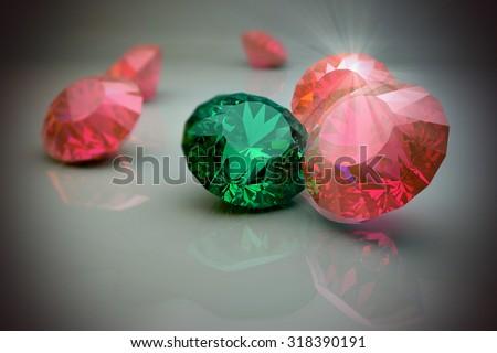Luxury diamonds, ruby, smarald. 3d render - stock photo