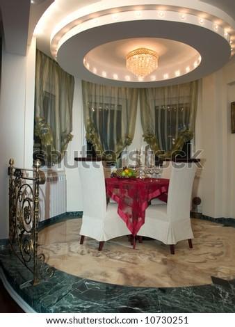 luxury dining room - stock photo