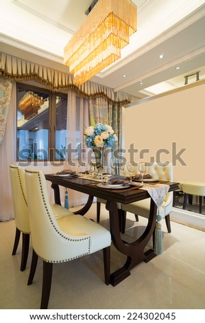luxury dining room with nice decoration and furniture