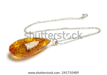 Luxury drop shape pendant isolated on the white background - stock photo